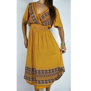 ST FROCK Mustard Paisley Hem Dress Plus Size AU 16